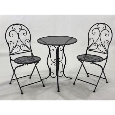 Hola 3 Piece Setting Table Chair Patio Garden Outdoor Metal Black 60x71cm