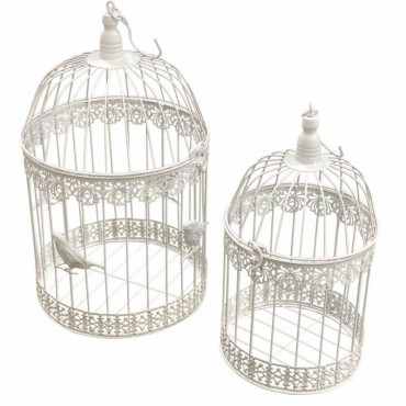Set 2 Ballarat Bird Cage Parrot Aviary Canary Budgie Finch Perch White 25x40cm