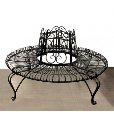 Tree Surround W/ Bench Outdoor Garden Seat Metal Black 150x85cm