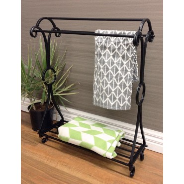 Towel Rail Bathroom Hanger Rack Holder Metal Black 69x87cm