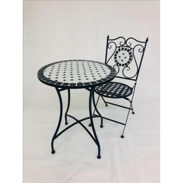 Mosaic 3 Piece Setting Table Chair Patio Garden Outdoor Mosaic Tile 60x72cm