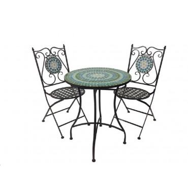 Mandy 3 Piece Setting Table Chair Patio Garden Outdoor Tile Top Green 60x71cm