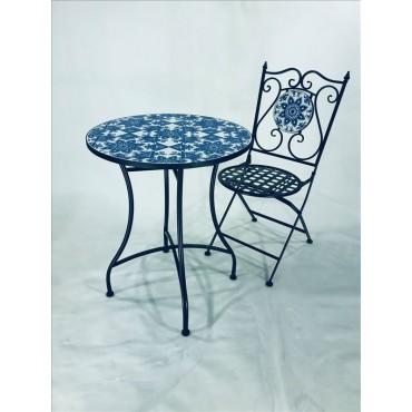 Ellie 3 Piece Setting Table Chair Patio Garden Outdoor Mosaic Tile 60x72cm
