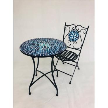 Bailey 3 Piece Setting Table Chair Patio Garden Outdoor Mosaic Tile 60x72cm