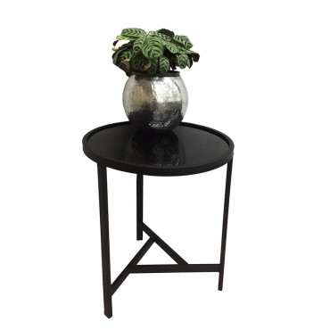 Round Caden Side Mirrored Table Lamp Unit Nightstand Matte Black 47x55cm