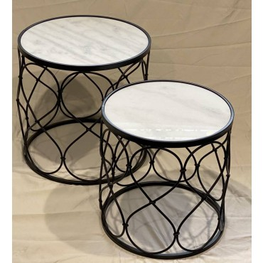Set 2 Helly Marble Coffee Table Lamp Unit Nightstand Black Frame 48cm