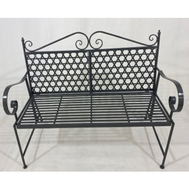 Steven Bench Metal Seat Chair Outdoor Garden Patio 2 Seater Grey 113x95cm
