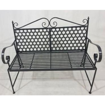 Steven 2 Seater Bench Seat Chair Outdoor Garden Patio Metal Dark Grey 113x95cm