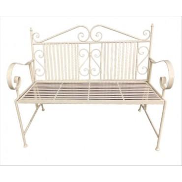 Hannan Bench Metal Seat Chair Outdoor Garden Patio 2 Seater White 117x91cm