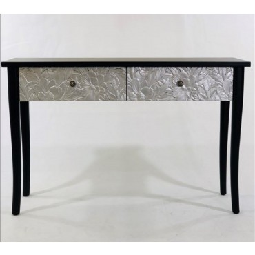 Large Console Table Hallway Hall Unit Timber Black Silver 120x80cm
