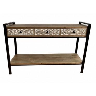 Aspen Console Table Hallway Hall Unit Metal Timber Natural Black 120x80cm