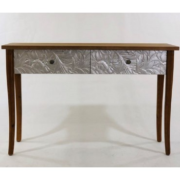 Eddy Console Table Hallway Hall Unit Metal Timber Natural Silver 120x80cm