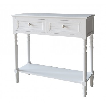 Portsea Console 2 Drawer Hallway Hall Unit Entry Side Timber Pure White 91x81cm