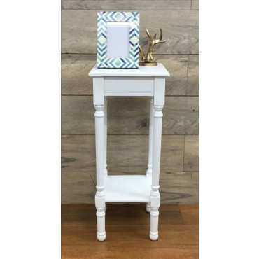 Vega Side Table Lamp Unit Nightstand Timber Pure White 30x72cm
