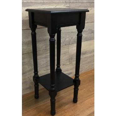 Vega Side Table Lamp Unit Nightstand Timber Black 30x72cm