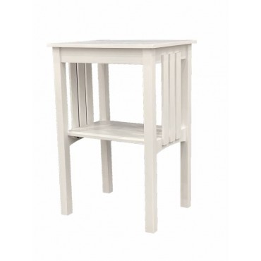 Paris Side Table Lamp Unit Nightstand Timber White 48x72cm