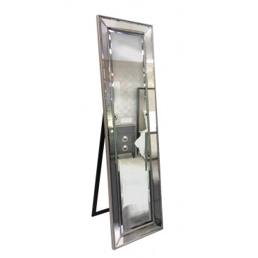 Cheval Mirror Free Standing Dressing Hallway Molded Frame Silver 50x164cm