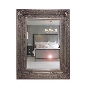 Large Decorative Rectangle Wall Mirror Hanging Bathroom Antique Silver 90x121cm