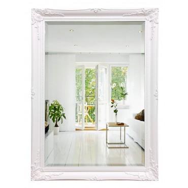 Decorative Rectangle Wall Mirror Hanging Art Framed Bathroom Glass White Frame 74x104cm