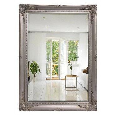 Decorative Rectangle Wall Mirror Hanging Art Framed Bathroom Silver 73x103cm