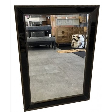 Contemporary Rectangle Wall Mirror Hanging Bathroom Antique Black 75x104cm