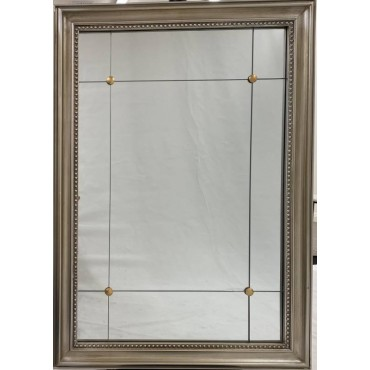LRectangle Wall Mirror Hanging Art Framed Bathroom Antique Silver 73x102cm