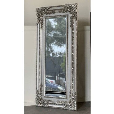 Florence Rectangle Wall Mirror Hanging Art Framed Bathroom Silver 80x170cm