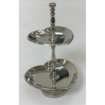 Tina 2 Tier Cake Stand Tray Muffin Cupcake Wedding Aluminium Silver  20x34cm