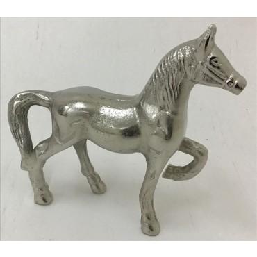 Lena Horse Statue Animal Ornament Figurine Aluminium Silver 24x21cm