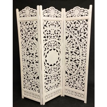 Large Sienna 3 Division Room Divider Folding Stand Alone Timber White 50x182cm