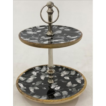 Saski 2 Tier Cake Stand Muffin Cupcake Wedding Wood Enamel 30x40cm