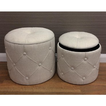 Set 2 Ricky Storage Stool Fabric Seat Ottoman Chair Pouf Cream 41x40cm