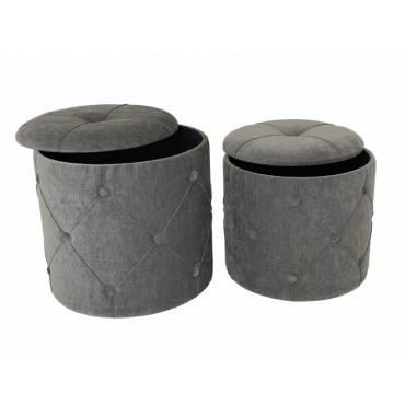 Set 2 Ricky Storage Stool Fabric Seat Ottoman Foot Rest Chair Grey 41x40cm