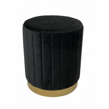 Phil Fabric Stool Upholstered Seat Ottoman Foot Rest Chair Pouf Black 38x44cm