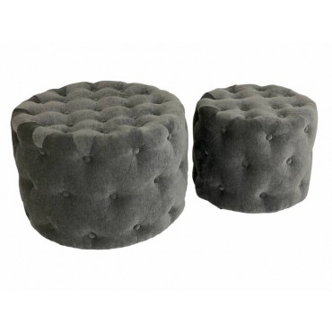 Set 2 Whitney Stool Fabric Seat Ottoman Foot Rest Chair Grey 46x43cm