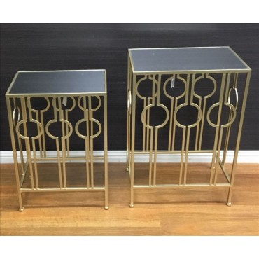 Set Of 2 Ashley Side Table Lamp Unit Nightstand Metal and Glass Champagne 56x66cm