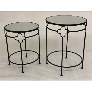 Set 2 Mirror Side Table Lamp Unit Nightstand Black Frame 43x55cm