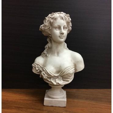 Victorian Lady Bust Ornament Figurine Sculpture Rust Cream 34x54cm