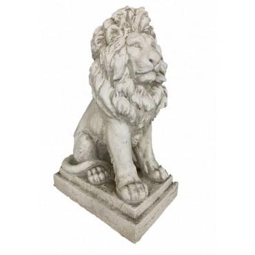 Large French Lion Statue Animal Sculpture Ornament Rust Cream 42x67cm
