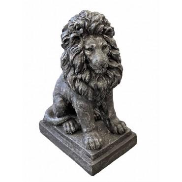 French Lion Statue Animal Sculpture Ornament Figurine Silver Black 42x67cm