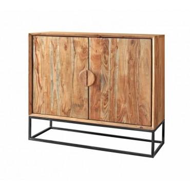 Melissa Cabinet Buffet Storage Cupboard Acacia Wood Acacia Black Framed 88x75cm