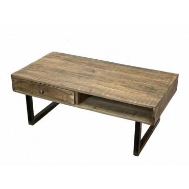 Hoki Coffee Table Lamp Unit Nightstand Acacia Wood Natural 118x45cm
