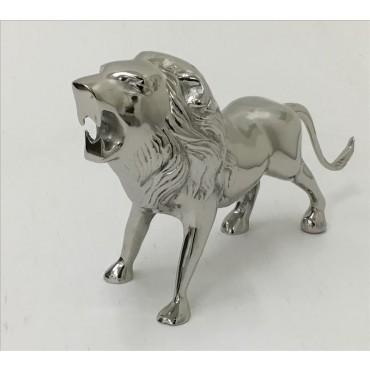 LILLY LION STATUE ANIMAL STATUE ORNAMENT FIGURINE ALUMINIUM POLISH NICKLE 56x16cm