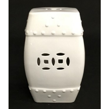 Texas Ceramic Stool Seat Chair Bench Garden Drum Collection White 30x44cm