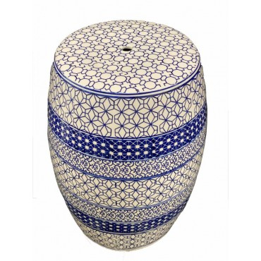 Holly Outdoor Ceramic Stool Seat Chair Bench Garden Drum Collection 32x45cm