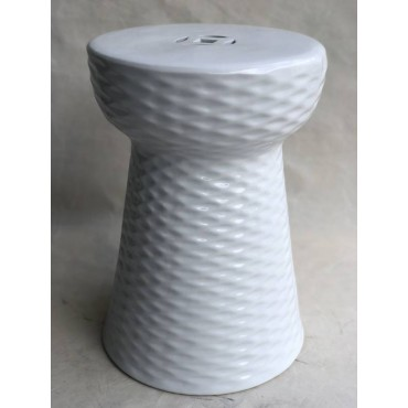 Santorini Stool Seat Chair Bench Garden Drum Collection Ceramic White 33x45cm