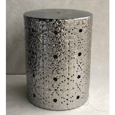 Lily Stool Seat Chair Bench Garden Drum Collection Ceramic Silver 34x45cm
