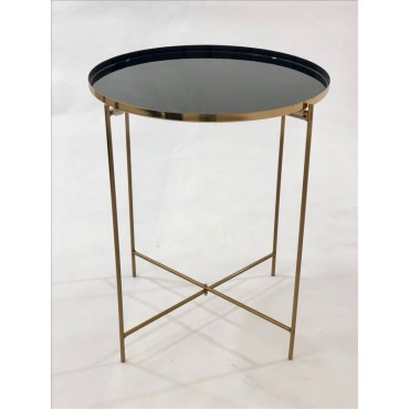 Jan Round Side Table Lamp Unit Nightstand Metal Champagne Black 43x50cm