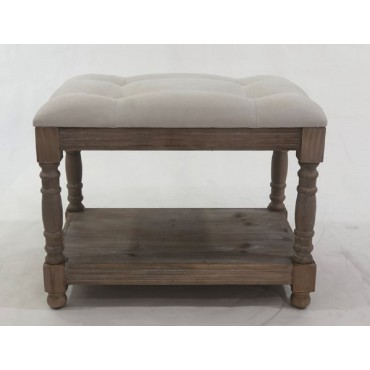 Blake Fabric Bench Seat Ottoman Foot Rest Chair Pouf Timber Beige 60x49cm