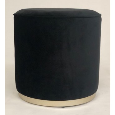 Scully Fabric Stool Bench Seat Ottoman Foot Rest Chair Pouf Black 43x41cm